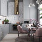 Современная кухня серо розовая гамма в высокой комнате