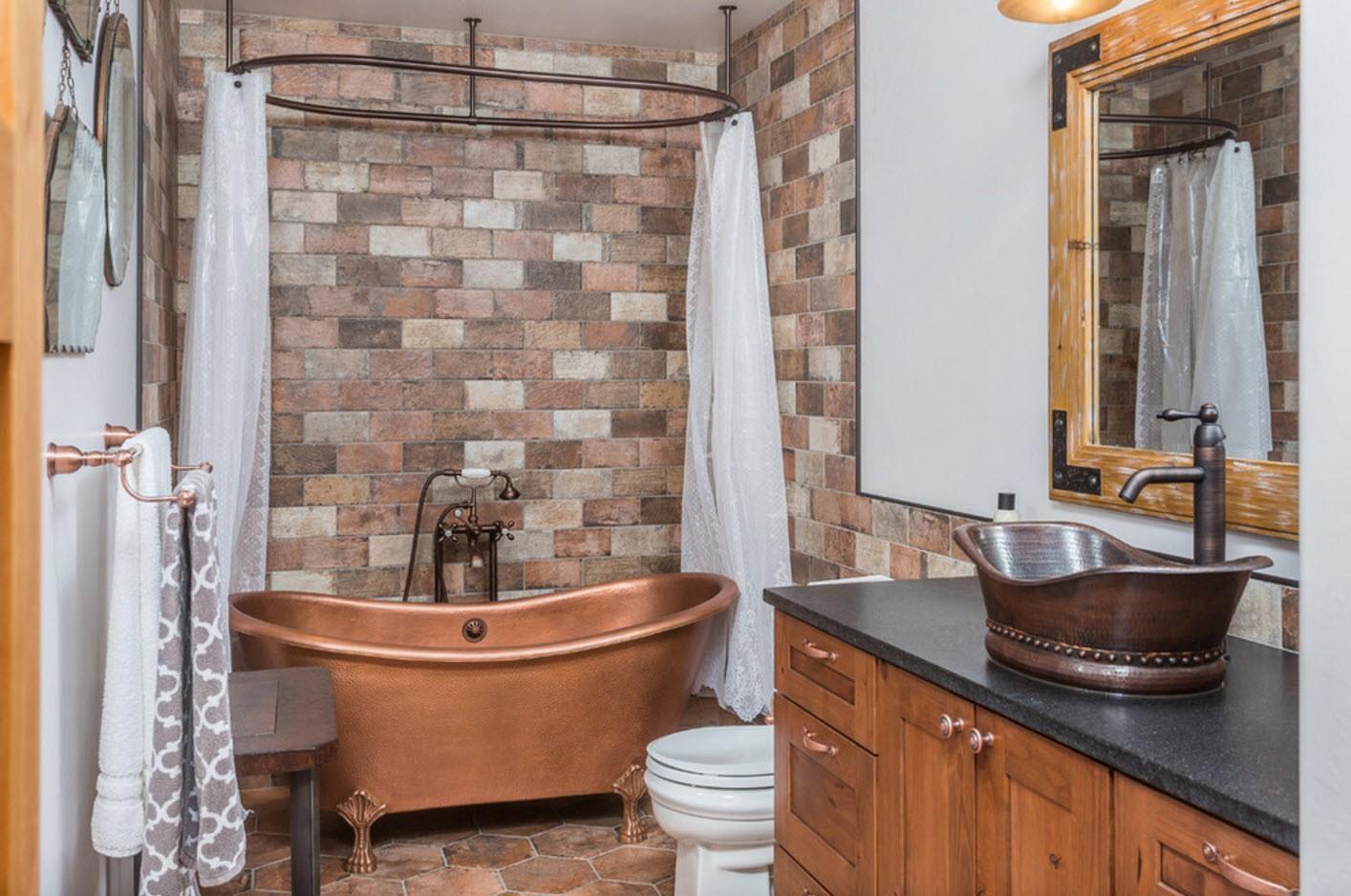 стильный дизайн ванной с туалетом
