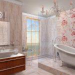ванная комната с окном красивый интерьер