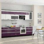 Светлая большая фиолетовая кухня