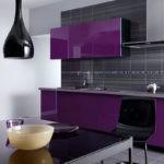 Фиолетовая кухня с черными оттенками