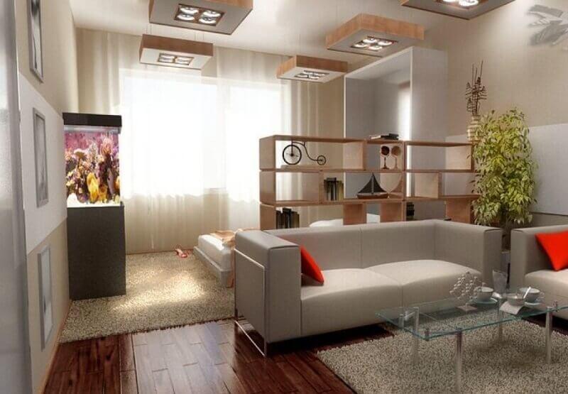 дизайн гостиной разделенной на 2 зоны