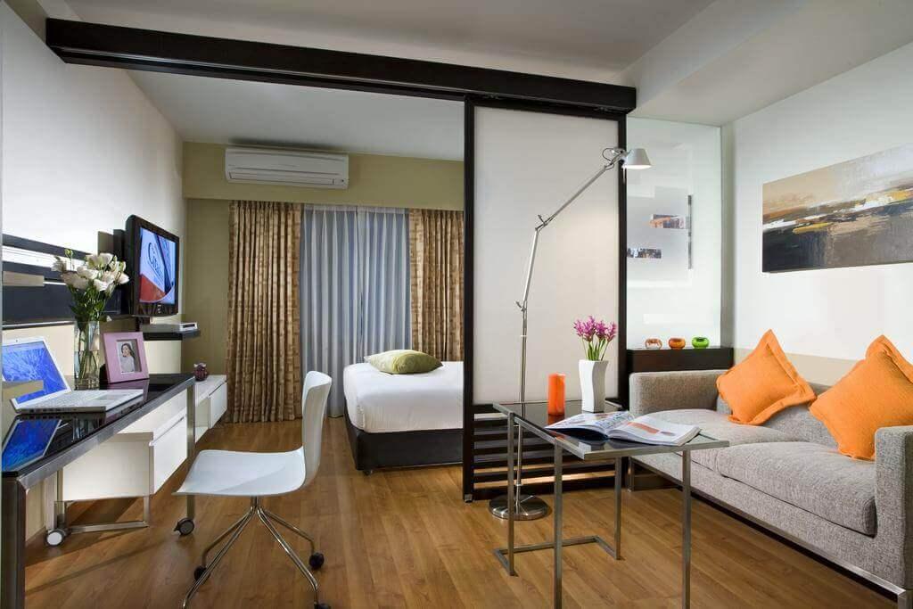 дизайн спальни с гостиной в одной комнате