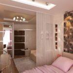 дизайн гостиной спальни с полками