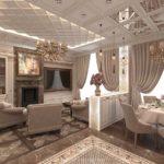 дизайн гостиной кухни дворцовый стиль