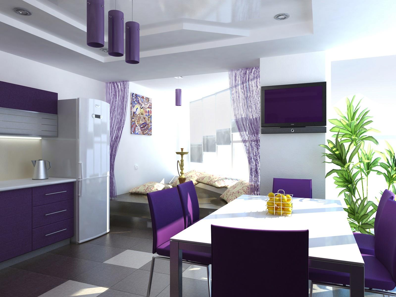 Фиолетовые стулья на кухню