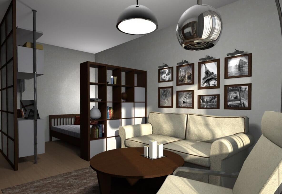 гостиная и спальня вместе