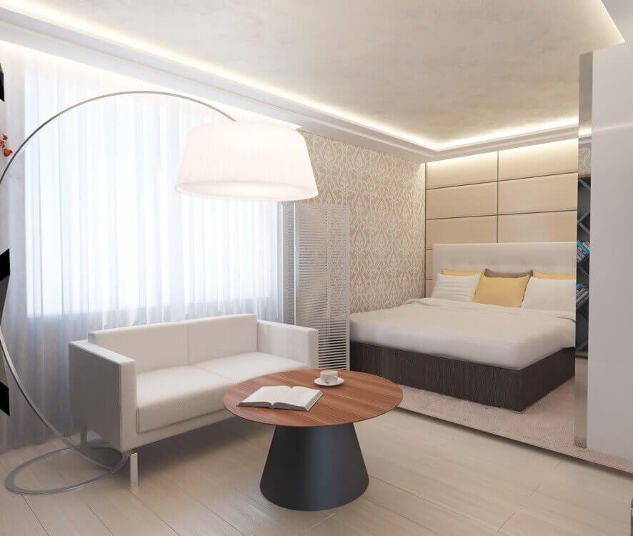 Объединение спальни и гостиной фото многих