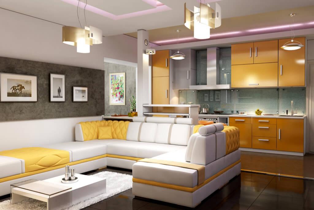 разделение комнаты 18 м2 на гостиную и кухню
