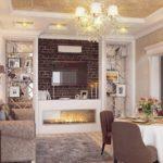 дизайн гостиной кухни 18 м2 классический интерьер
