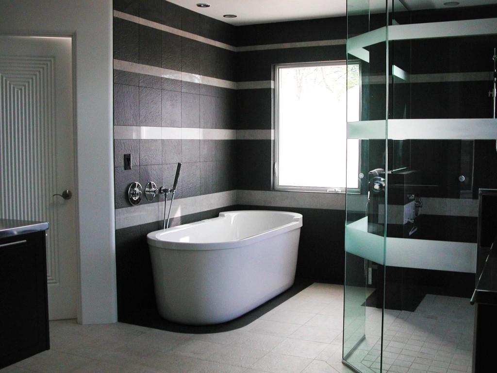 отделка ванной черно белой плиткой