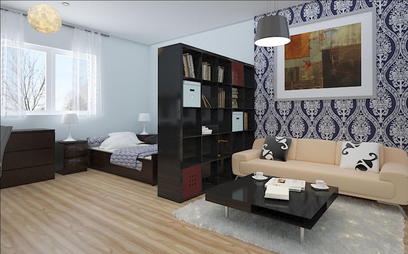 зонирование гостиной спальни
