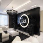 шикарный дизайн спальни гостиной