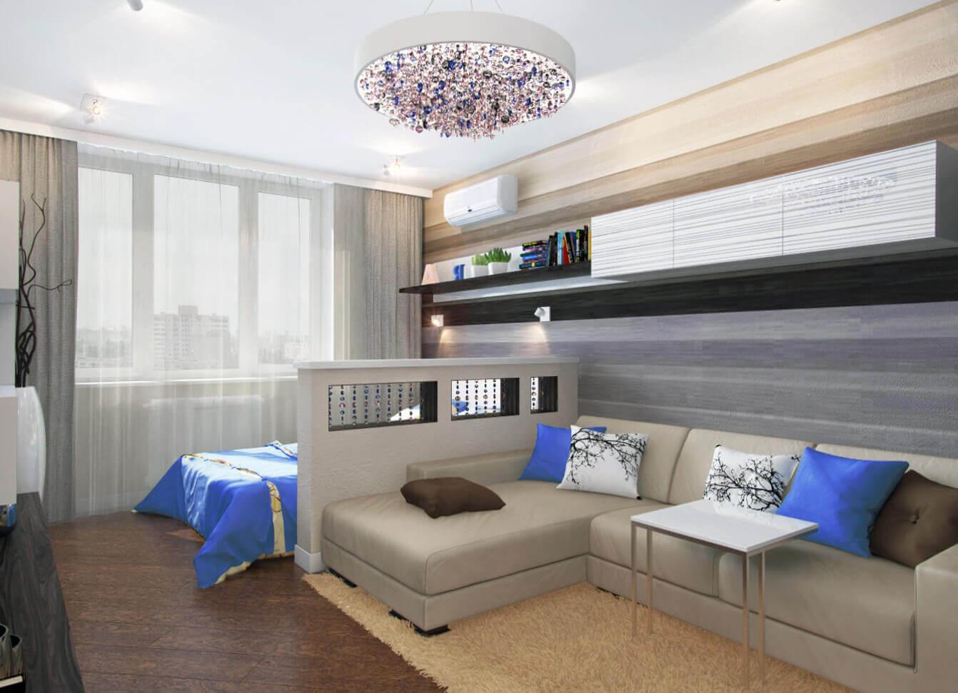 современный дизайн спальни гостиной