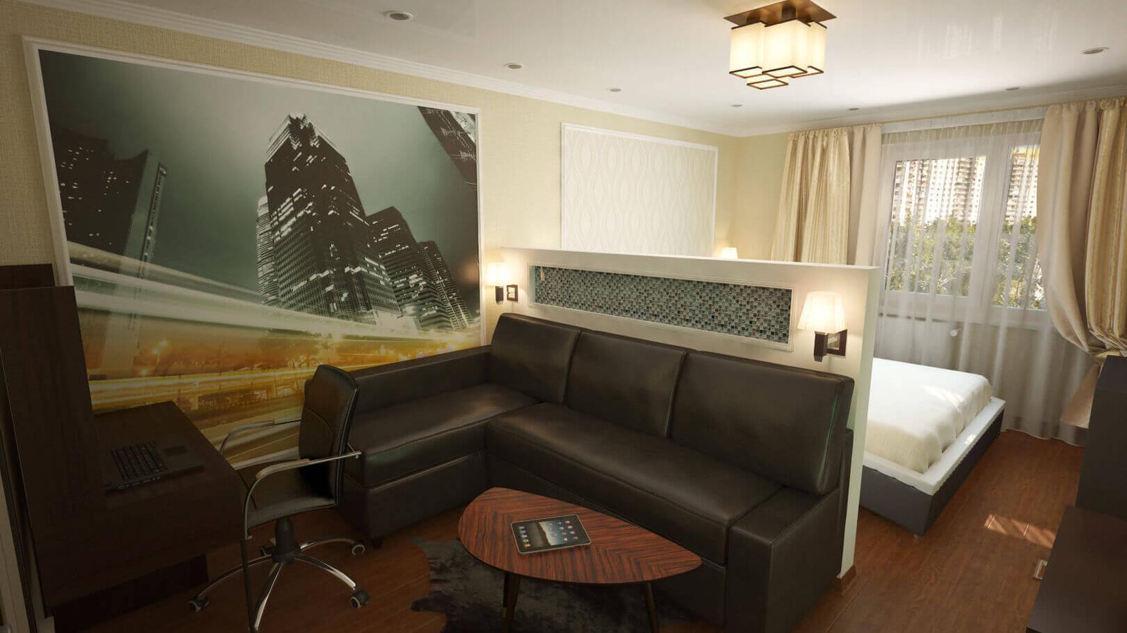 еременко-младший дизайн гостиной совмещенной со спальней фото поворота передний