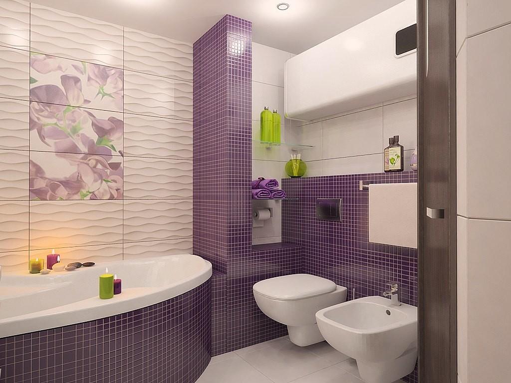 сиреневая плитка для ванной