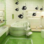 Декор ванной комнаты под аквариум с рыбками