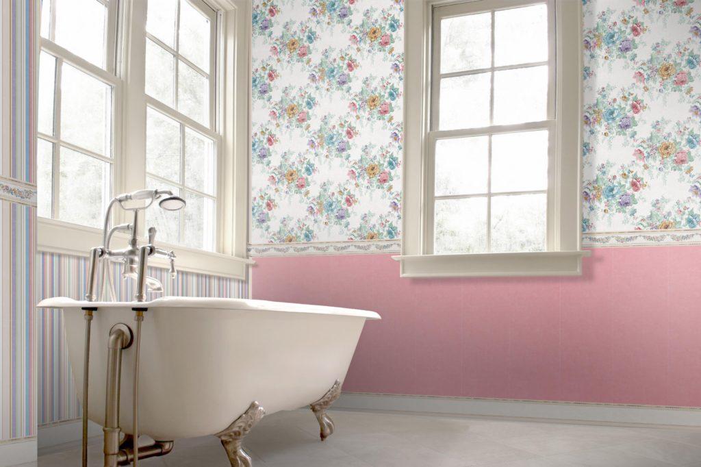 Декор ванной комнаты прованс в просторном помещении