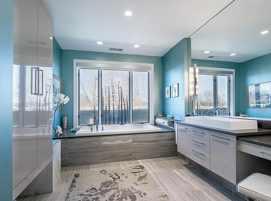Декор ванной комнаты стиль хай-тек гаджеты и подсветка