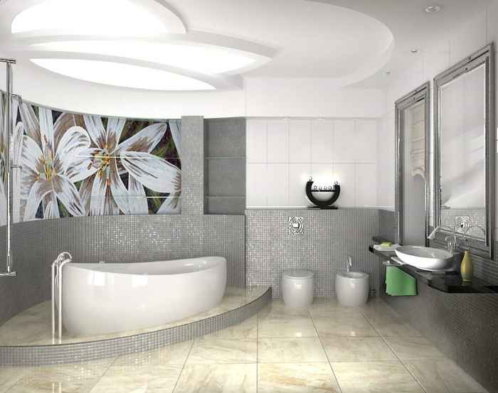Декор ванной комнаты стиль панно на кафельной плитке
