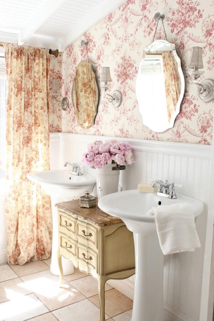 Декор ванной комнаты тумбочка в стиле прованс