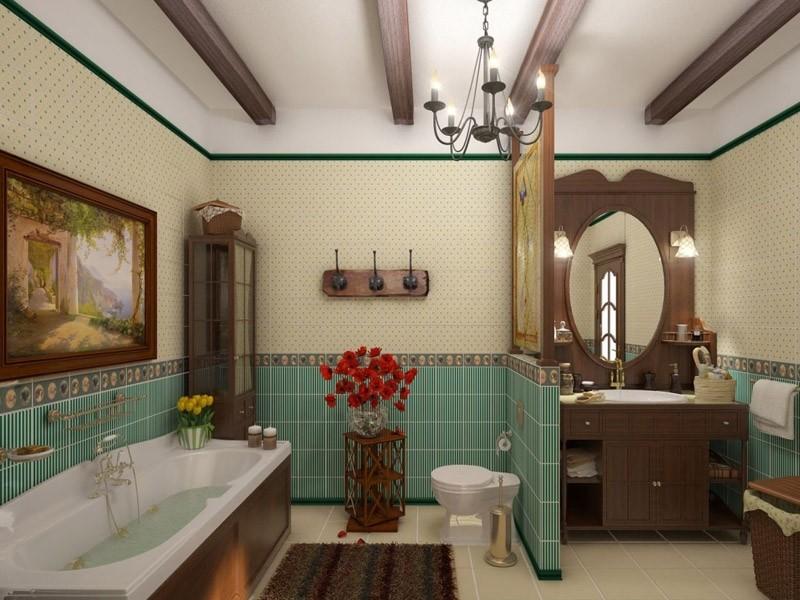 Декор ванной комнаты в стиле кантри для большой комнаты