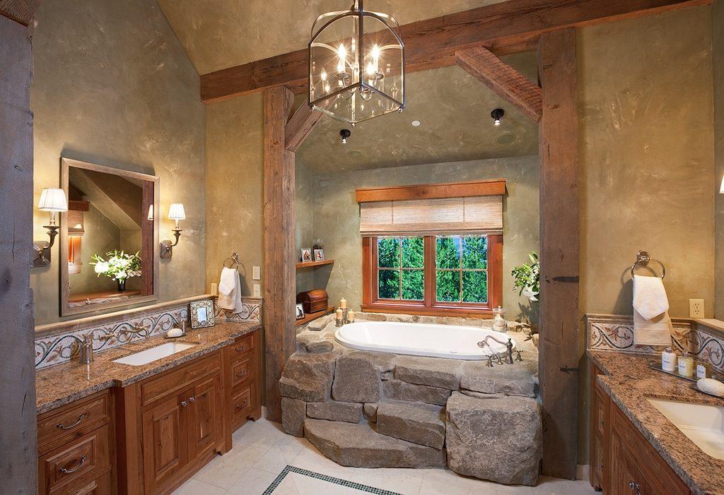Декор ванной комнаты в стиле кантри каменная ванная