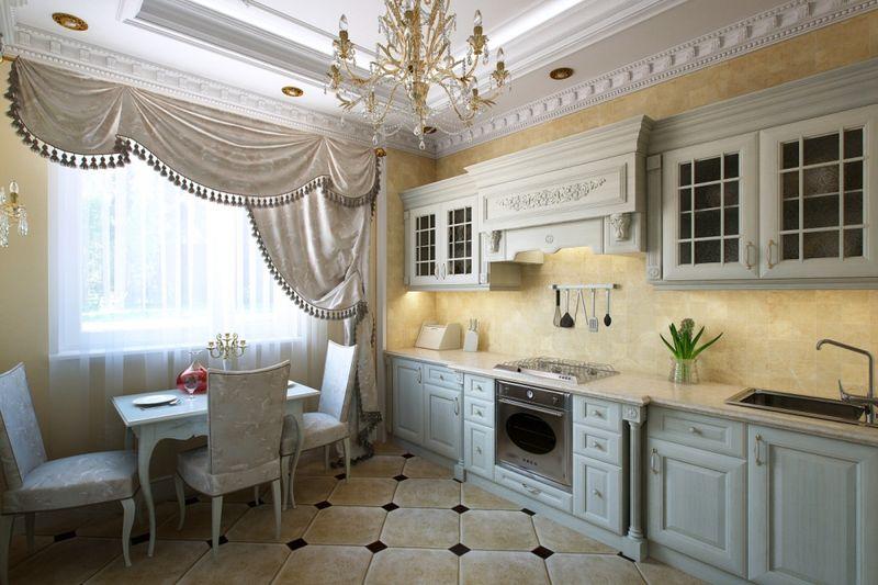 Дизайн кухни в частном доме керамогранит и канделябры