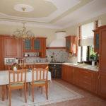 Дизайн кухни в частном доме классика угловой дизайн мойка у окна