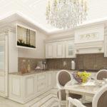 Дизайн кухни в частном доме классика в угловой планировке