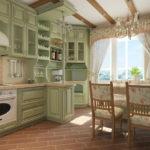 Дизайн кухни в частном доме прованс в линейной планировке