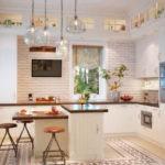 Дизайн кухни в частном доме скандинавский стиль гарнитур по периметру
