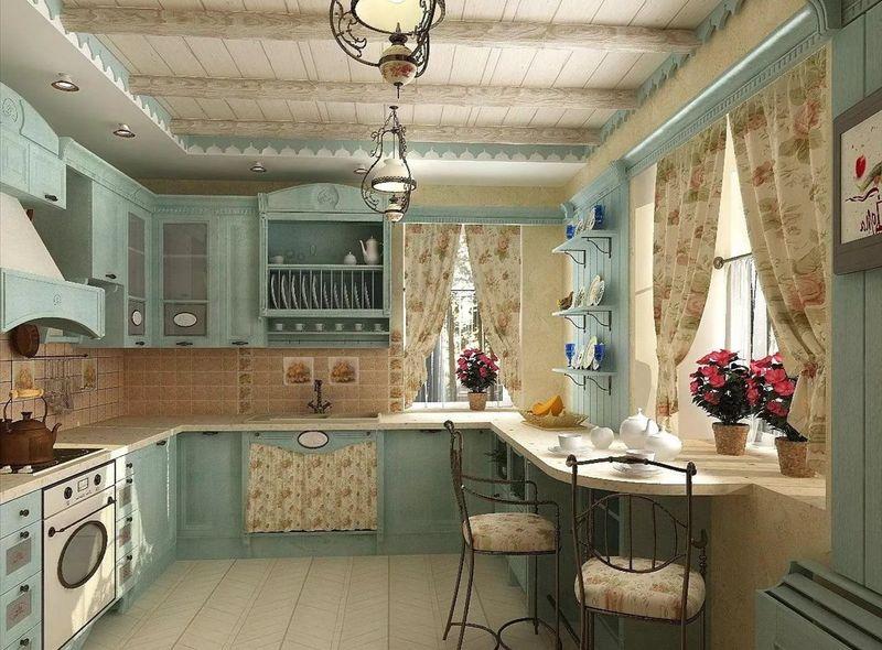 Дизайн кухни в частном доме стиль прованс матовый оттенок