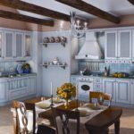 Дизайн кухни в частном доме стиль прованс с угловым расположением