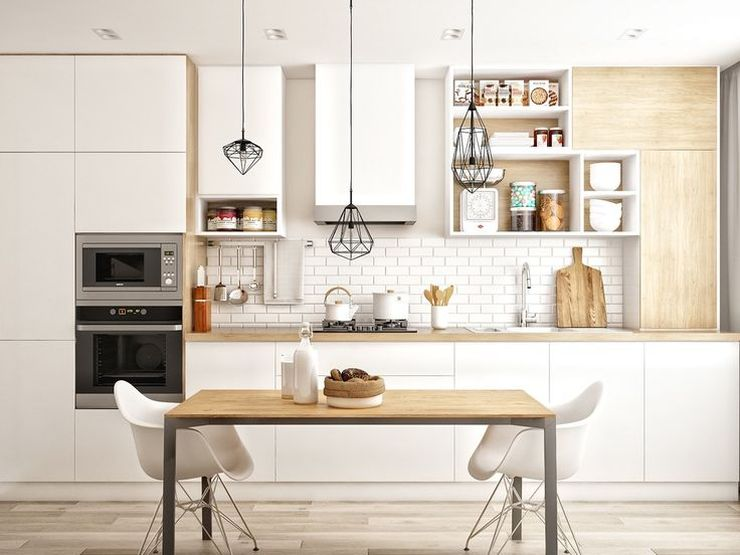 Дизайн кухни в частном доме в скандинавском стиле