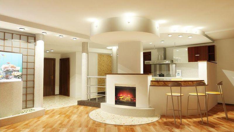 Дизайн кухни в частном доме в стиле модерн с элементами хай-тека