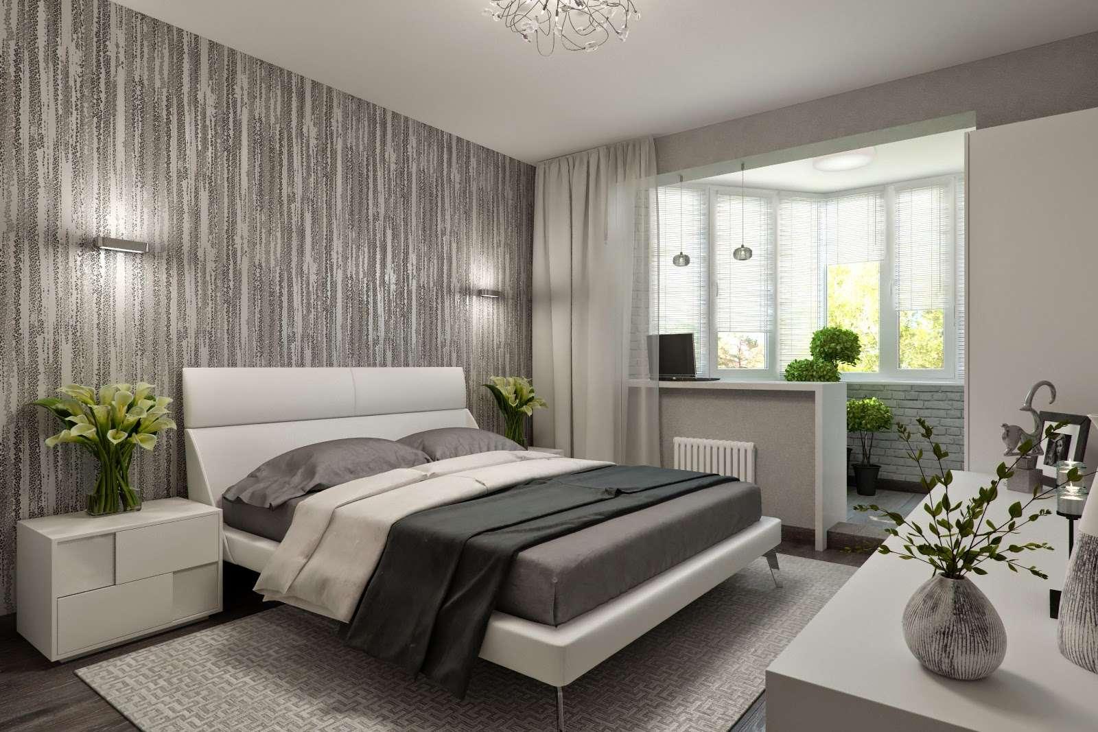 идеи дизайна спальни с балконом