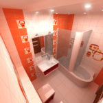Дизайн ванной комнаты в хрущевке бело-оранжевый колорит