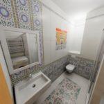 Дизайн ванной комнаты в хрущевке белый цвет и плитка с орнаментом