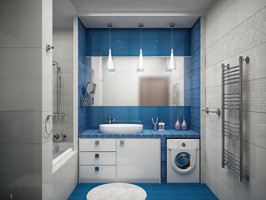 Дизайн ванной комнаты в хрущевке белый и синий цвета