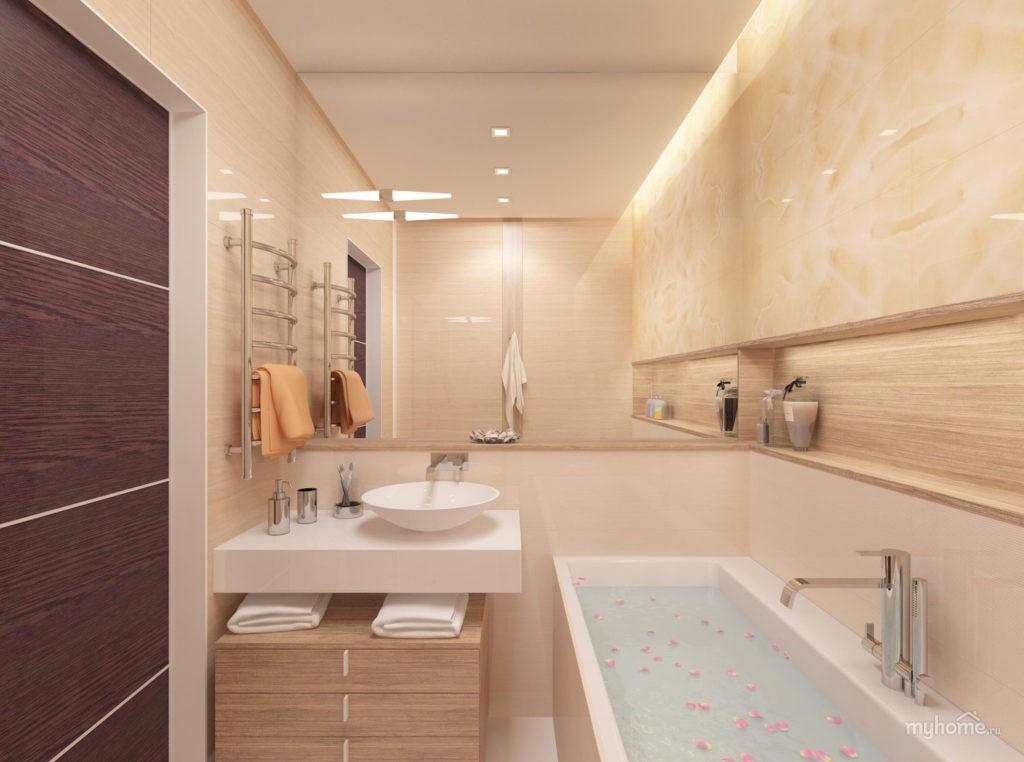 Дизайн ванной комнаты в хрущевке бежевый фон