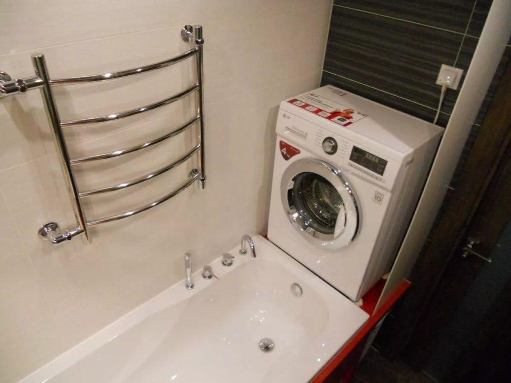 Дизайн ванной комнаты в хрущевке компактная стиральная машина