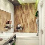 Дизайн ванной комнаты в хрущевке панно над ванной и широкое зеркало