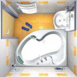 Дизайн ванной комнаты в хрущевке с угловой ванной без унитаза
