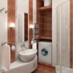 Дизайн ванной комнаты в хрущевке угловая душевая ниша с полками
