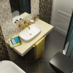 Дизайн ванной комнаты в хрущевке в стиле арт-деко