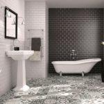 дизайн керамической черно белой плитки для ванной
