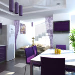 Фиолетовая кухня с декором