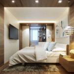 интерьер спальни с балконом