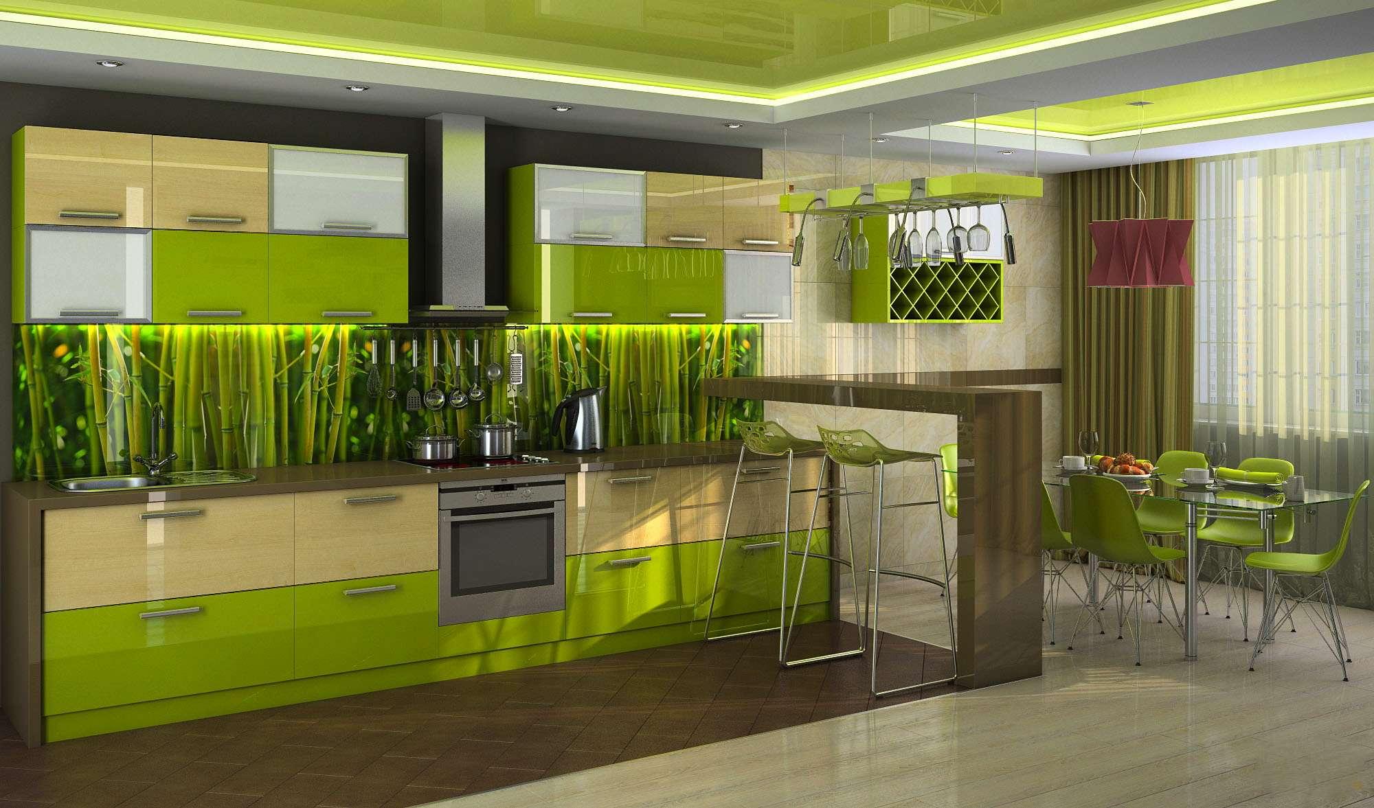 зеленая кухня отделка